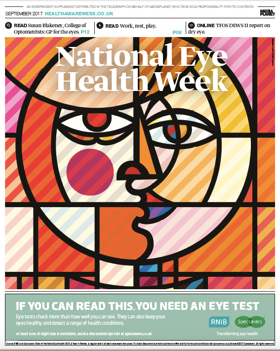 Cover image NEHW eye health supplement published in Sunday Telegraph 17 Sept 17